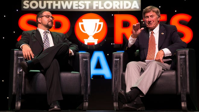 Ed Reed, Content Coach for the News-Press, left, chats with keynote speaker Steve Spurrier, former University of Florida and South Carolina football head coach, during the Southwest Florida Sports Awards at the Barbara B. Mann Performing Arts Center Wednesday, May 24, 2017 in Fort Myers, Fla.