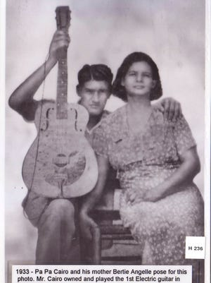 Electrified! Pa Pa Cairo owned and played the first electric guitar in Louisiana. Cairo and Bertie Angelle posed for this photo in 1933.