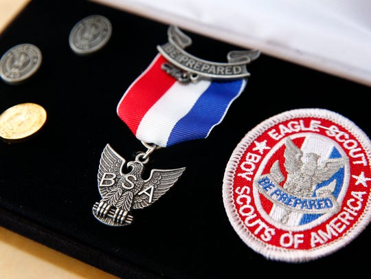 An Eagle Scout insignia like this will be awarded to