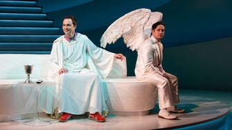"Jim Parsons, left, and Christopher Fitzgerald in ""An Act of God."""