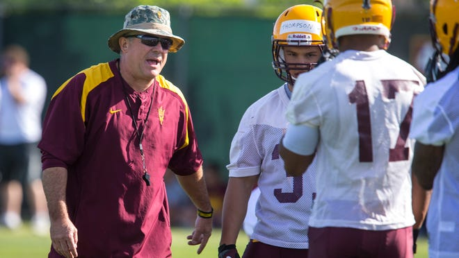ASU football coach Todd Graham, shown during spring practice in March, has more than earned a raise and contract extension after taking the Sun Devils to two bowl games.