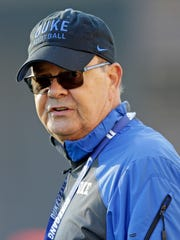 Duke coach David Cutcliffe watches during the team's first NCAA college football practice of the season in Durham, N.C., Monday, July 31, 2017. (AP Photo/Gerry Broome)