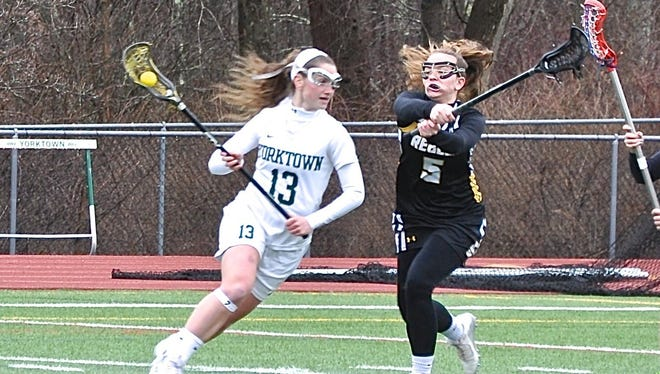 Yorktown's Rilea Fusco, who had eight goals, tries to move past Carlyn Mucci of Lakeland-Panas. Photo from Mar 28, 2017.jpg