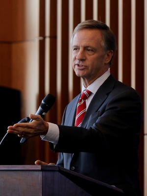 Governor Bill Haslam speaks during an event held at The Bridgestone Tower Wednesday December 13, 2017.