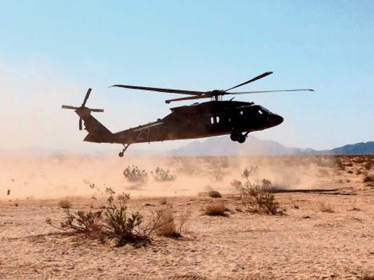 David Burge — El Paso Times Blackhawk helicopters, provided by the 1st Battalion, 147th Aviation Regiment of the Wisconsin National Guard, provide a key way to get around the training area at the National Training Center in Fort Irwin, Calif.