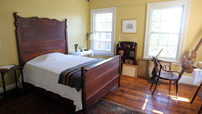 A view of Edward Hopper's bedroom, which has been restaged by designer Ernest de la Torre and architect Walter Cain, at the Edward Hopper House Art Center in Nyack, Oct. 3, 2016. The original bed frame and easel were included in the redesign.