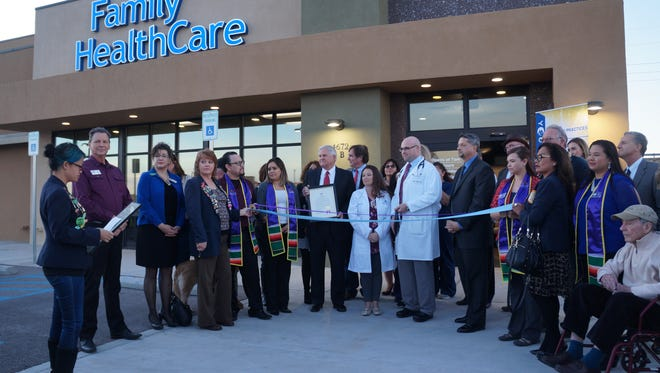 Members of the Greater Las Cruces Chamber of Commerce, the Hispanic Chamber of Commerce and hospital dignitaries mark the opening of Memorial Physician Practices' newest location, Family HealthCare Center-Sonoma.