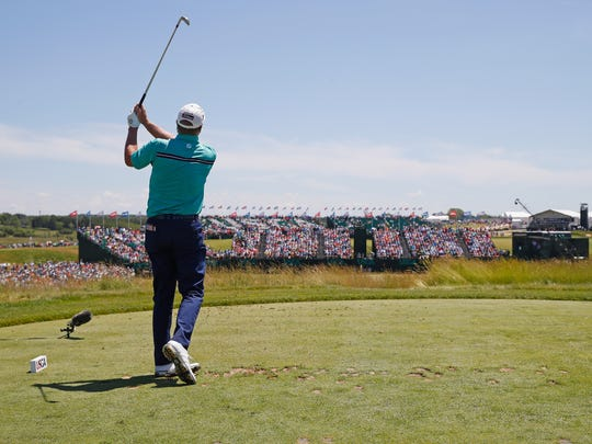 Steve Stricker hits his tee shot from the par-3 ninth during the second round of the U.S. Open Friday at Erin Hills.