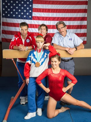 """Sebastian Stan, left, Melissa Rauch, Thomas Middleditch, Haley Lu Richardson and Gary Cole star in the sports comedy """"The Bronze."""""""