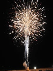 Fireworks erupt over Rehoboth Beach on July 5. The display is being staged by Zambelli Fireworks.