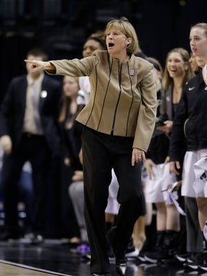 Purdue coach Sharon Versyp shouts instructions during the second half of an NCAA college basketball game against Penn State at the Big Ten women's tournament Thursday, March 3, 2016, in Indianapolis. Purdue won 70-59. (AP Photo/Darron Cummings)