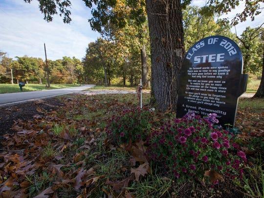 A memorial for Steeler Seaburn sits near the spot where