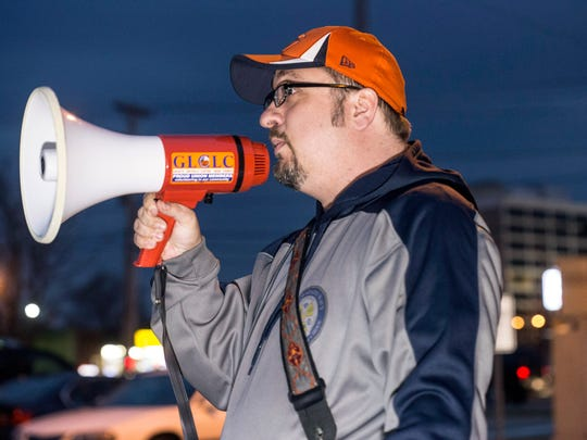 Tim Druck, the father of a PRP student, spoke during a rally about his concerns for the state of the JCPS system and its current leadership. Feb. 21, 2017