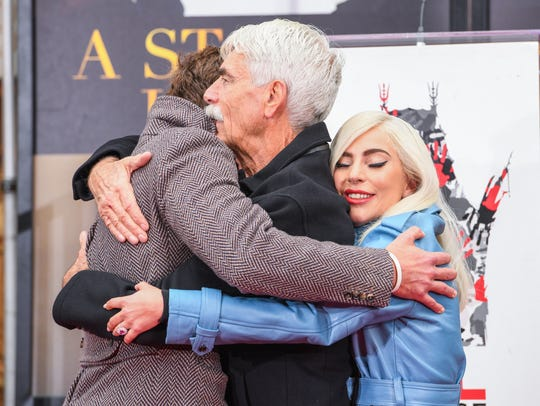 "Bradley Cooper, left, Lady Gaga and Sam Elliott each earned acting nominations for ""A Star Is Born."" The movie was also recognized in the best picture and original song categories."