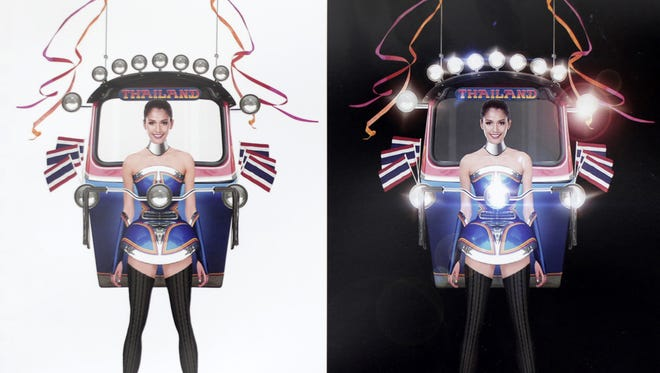"""This illustration released Wednesday, Oct. 7, 2015, by Miss Universe Thailand Organizer shows Miss Universe Thailand 2015 Aniporn Chalermburanawong wearing a dress that looks like a """"tuk-tuk,"""" a three-wheeled motorized taxi. The """"Tuk Tuk Thailand"""" dress will be worn by Aniporn in the costume round at the pageant in December in the United States. It was the winning design from 356 entries in a contest held by Miss Universe Thailand."""