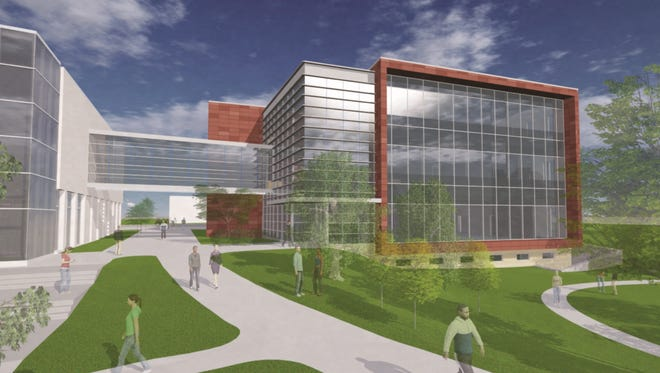 A rendering of Drake University's planned new School of Education building. The building is one of six Drake plans to interconnect to form a STEM complex.