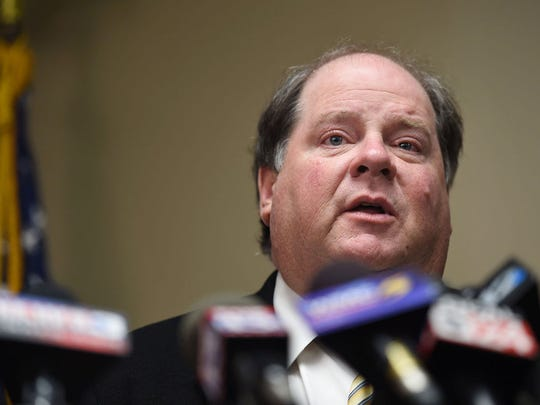Panola County (Miss.) District Attorney John Champion discusses the indictment of  Quinton Verdell Tellis in the December of 2014 death of Jessica Chambers during a press conference in Batesville, Miss., on Wednesday, Feb. 24, 2016. (Joe Ellis/The Clarion-Ledger via AP)  NO SALES; MANDATORY CREDIT