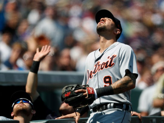 Tigers third baseman Nick Castellanos pursues a foul