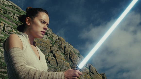 Rey (Daisy Ridley) explores her growing powers in 'Star Wars: The Last Jedi.'