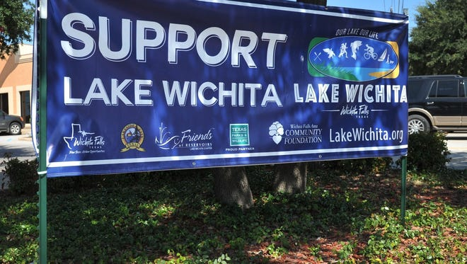 In this file photo a Support Lake Wichita sign is seen in Wichita Falls. The Lake Wichita Revitalization Committee met Tuesday after a three-month hiatus for the bond election. Proposition B, which would have been about $4 million for lake improvements failed to pass Saturday.