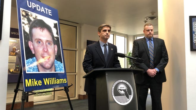 Mark Perez, Special Agent in Charge, FDLE Tallahassee, and Assistant State Attorney Jon Fuchs give a press conference to announce that Mike Williams, missing for 17 years, was murdered.