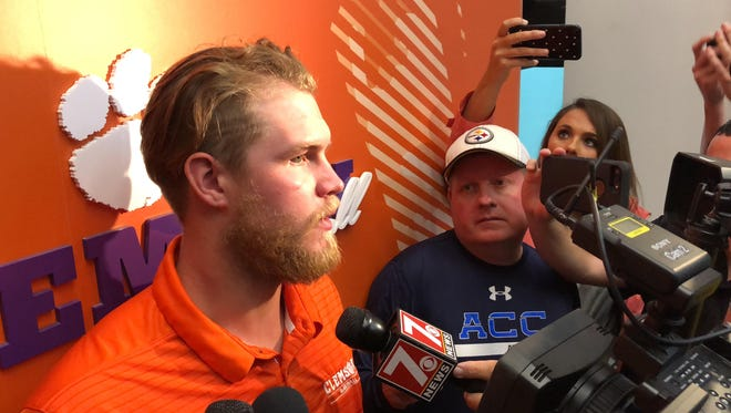 Clemson right fielder Seth Beer speaks to reporters following the NCAA baseball selection show on May 28, 2018.