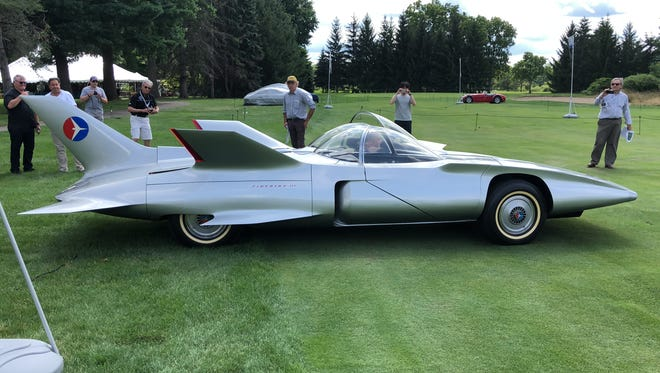 GM's 1950s-era turbine-powered Firebird III concept car is on display at the Concours d'Elegance of America.