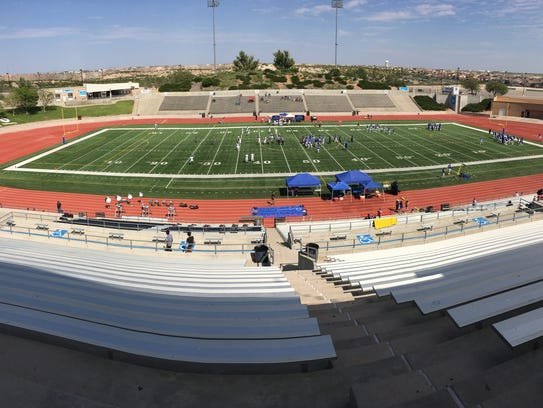 The proposed $448.5 million Socorro Independent School District bond on the Nov. 7 ballot would fund a new student activities complex, likely in the same area as the existing facility off Joe Battle Boulevard shown here during a recent high school football game.