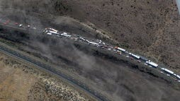 This aerial photo provided by the Washington State Patrol shows an Interstate 90 pile up Thursday, July 17, 2014 near Vantage, Wash.