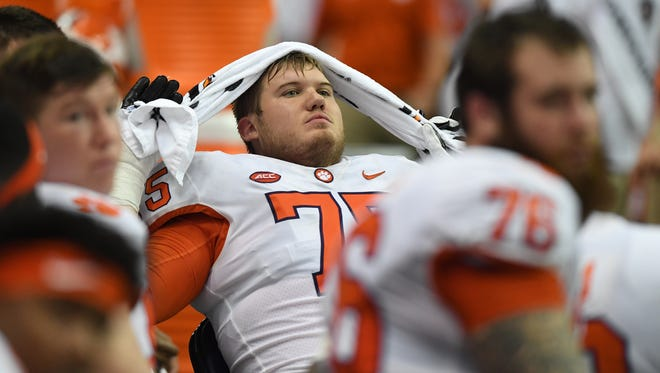 Clemson offensive lineman Mitch Hyatt (75) reacts during the closing minutes of the Tigers loss to Syracuse on Friday, Oct. 13, 2017 at the Carrier Dome in Syracuse, N.Y.