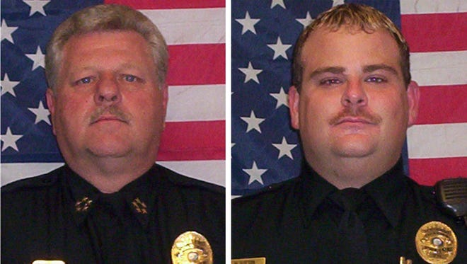 Fairview Police Chief Terry Harris (left) and assistant chief Mark Sutton were placed on administrative leave Friday pending an internal investigation