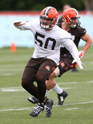 Cleveland Browns linebacker Scooby Wright works out during mini camp at the practice facility Tuesday, June 7, 2016, in Berea, Ohio.