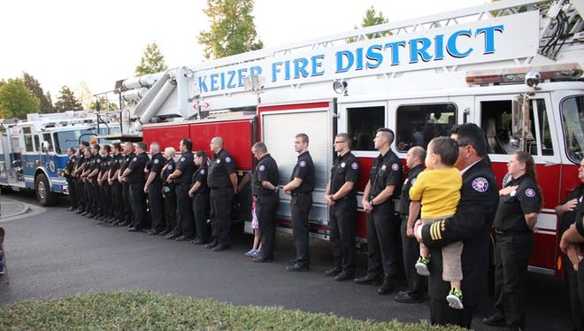Firefighters with the Keizer Fire District gathered for the 13th annual 9/11 remembrance ceremony.
