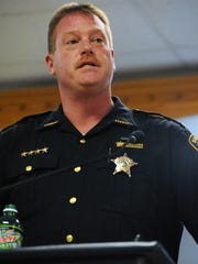 Pike County Sheriff Charles Reader speaks during a press conference April 22 at the Village of Piketon Government Center.
