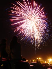 Fourth of July fireworks at Freedom Fest at Sheppard AFB in 2008. This year's public fireworks display will be at SAFB on Tuesday.
