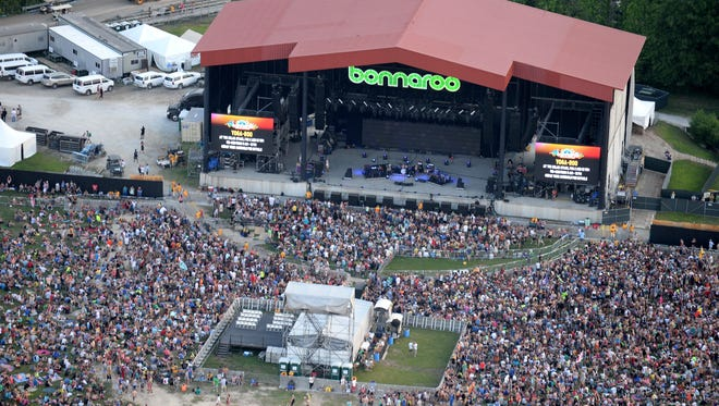 An aerial view of the stage at the 2015 Bonnaroo Music And Arts Festival on June 12, 2015, in Manchester, Tenn.