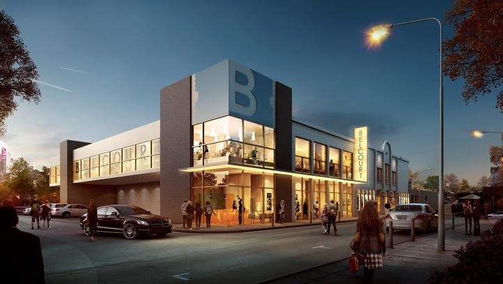 A rendering shows the updated Belcourt Theatre, which is under renovation.