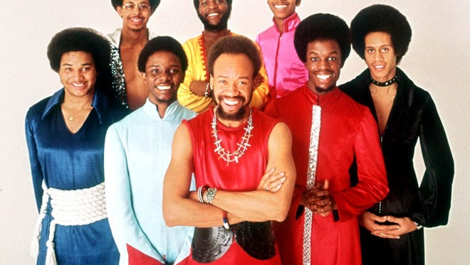 The soul group Earth, Wind & Fire pose for a group portrait in this 1970s promotional photo. Earth, Wind & Fire will be inducted into the Rock and Roll Hall of Fame during a ceremony in New York March 6. Front row, from left, are: Al McKay, Philip Bailey, Maurice White, Verdine White and Larry Dunn.  Back row, from left: Ralph Johnson, Andrew Woolfolk and Johnny Graham.  (AP Photo)