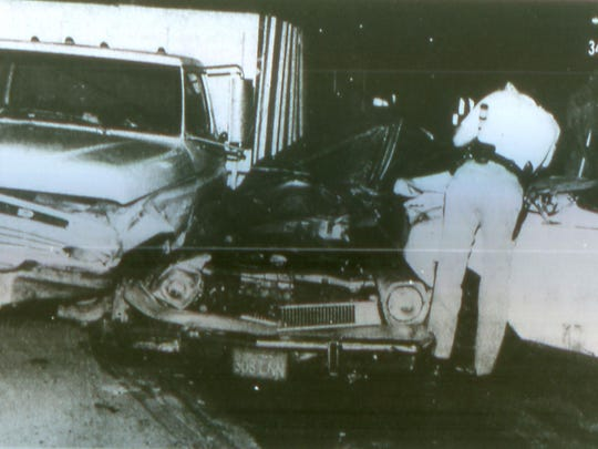 A Ford Pinto was crushed between two vehicles during a police pursuit in the Dream Homes Neighborhood on April 28, 1982. A bystander, Daniel Salazar, was killed.