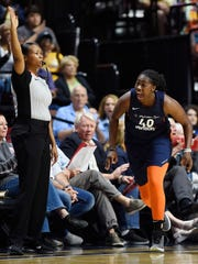 Connecticut Sun forward Shekinna Stricklen (40) celebrates