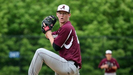 Albertus Magnus pitcher James Reilly, who was drafted by the Seattle Mariners over the weekend, delivers a pitch to Ardsley during their Class B game at Ardsley High School, May 21, 2016.