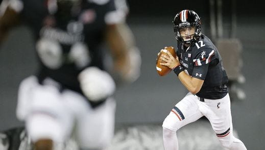 It remains unclear whether Ross Trail (12) will start again at quarterback for the Cincinnati Bearcats.
