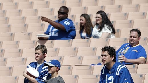 Colts fans wait for the start of the team's season opener against the Los Angeles Rams.