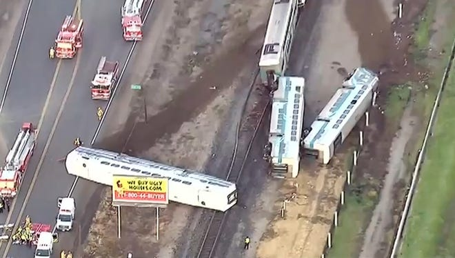 A California commuter train hit a tractor-trailer and derailed in Oxnard, injuring dozens of people, according to multiple media reports.