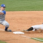 Erath's Ben LeBlanc is late with the tag on Evangel's Joey Usie during Tuesday's Class 3A state playoff game at Evangel.