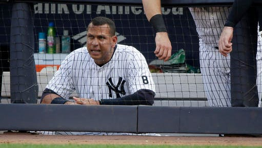 New York Yankees designated hitter Alex Rodriguez watches play from the dugout during the eighth inning of a baseball game against the Toronto Blue Jays, Thursday, May 26, 2016, in New York. The Blue Jays won 3-1. (AP Photo/Julie Jacobson)
