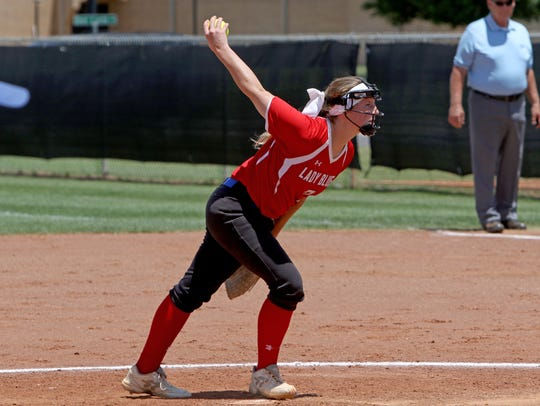 Graham's Emma Southerland pitches against Bushland
