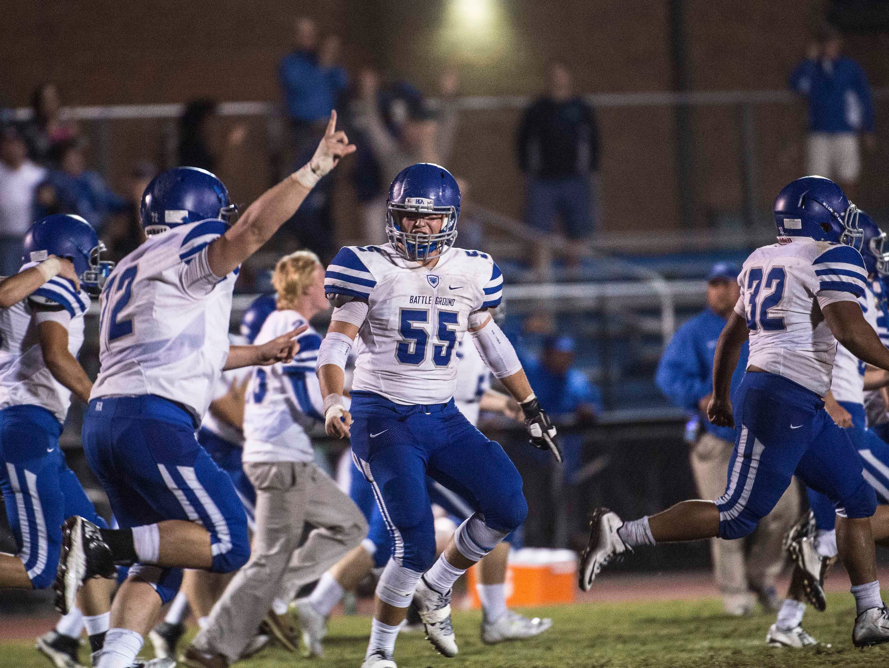 BGA celebrates after beating Page 28-27 at Page High School on Saturday Sept. 26, 2015, in Franklin in Tenn.