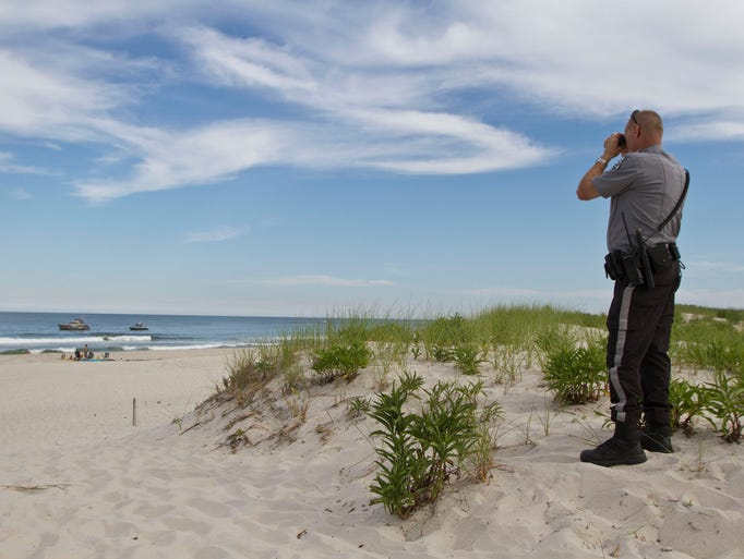 Search for swimmer at Island Beach State Park