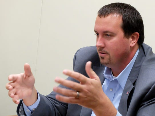 State Rep. Seth Grove, (R) sits with the York Dispatch